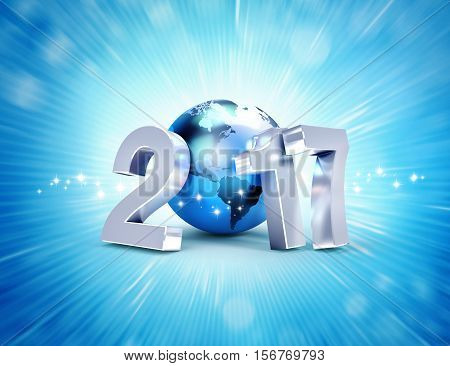 2017 New Year Symbol For Worldwide Business