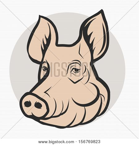 Pig Head, Pork meat farm Logo, Mascot silhouette sketch Emblem. Vector