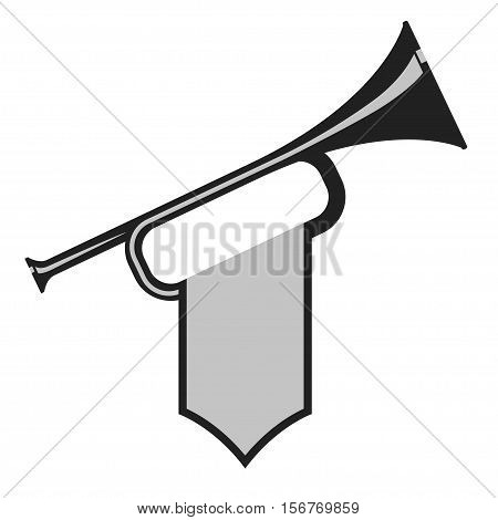 Trumpet with flag icon. Black Bugle Cartoon Illustration. Horn Flat design. vector