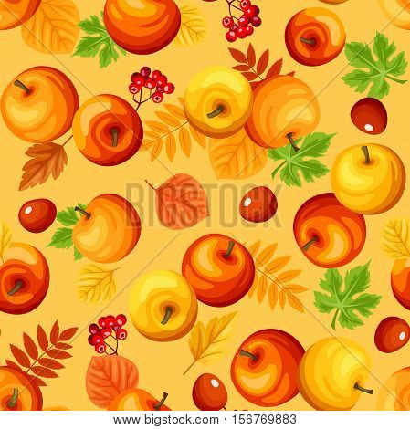 Vector seamless background with colorful autumn apples, leaves and rowanberries.