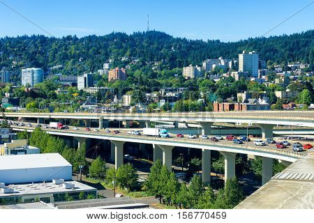 West hills view in Portland Oregon with stopped traffic on I-405