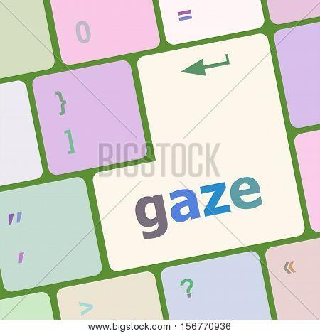 Gaze Button On Computer Pc Keyboard Key