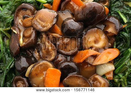 Chinese Food. Fried Mushrooms With Vegetables