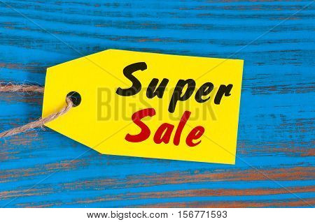 Yellow Super Sale tag. Design for sales, discount, advertising, marketing price tags of clothes, furnishings, cars and food
