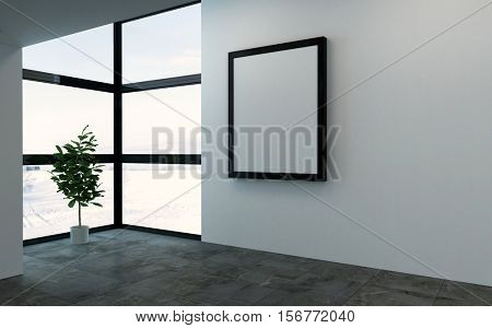 3D rendering scene of empty room with large square picture frame and bright windows. Single large houseplant tree in corner.