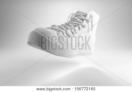 3d rendering of a white lace up sports shoe floating midair over a graduated grey background with copy space for your text