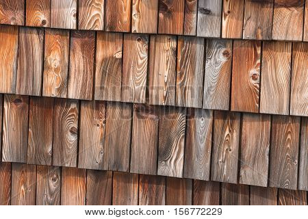 close up of traditional wooden roof shingles