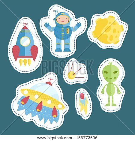 Space cartoon stickers. Astronaut, spaceship. flying saucer, satellite, comet or meteor, Moon, alien vector illustrations isolated on blue background. Counters or tokens for table games, price tags