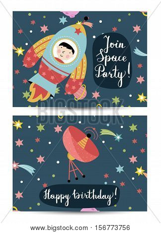 Happy birthday cartoon greeting card on cosmic theme. Rocket with boy on board flying in space, parabolic antenna signaling in starry universe vector. Bright invitation on childrens costumed party