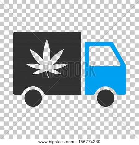 Cannabis Delivery Van EPS vector icon. Illustration style is flat iconic bicolor blue and gray symbol on chess transparent background.