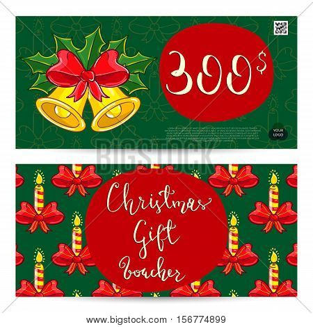 Christmas gift voucher template. Gift coupon with Xmas attributes and prepaid sum. Christmas bells with holly  and ribbon bow, candles cartoon vectors. Merry Christmas and Happy New Year greeting card