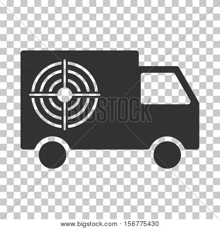 Shooting Gallery Truck EPS vector pictogram. Illustration style is flat iconic gray symbol on chess transparent background.