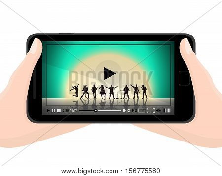 Watching Video On Mobile Phone Concept. Flat Black Modern Mobile Phone In Hands. Vector Illustration