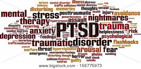 PTSD word cloud concept. Vector illustration on white