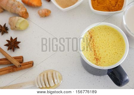 Turmeric Latte, Golden Milk, Turmeric Milk Made From Turmeric, Almond Mink, Cinnamon, Ginger And Hon
