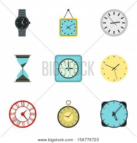 Electronic watch icons set. Flat illustration of 9 electronic watch vector icons for web