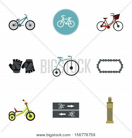 Race bike icons set. Flat illustration of 9 race bike vector icons for web