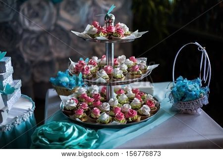 wedding cakes, delicious festive dessert lie on plate
