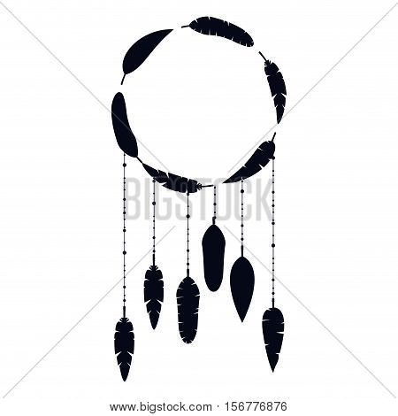 Feather plume and circle icon. Bohemic boho rustic decoration nature and vintage theme. Isolated design. Vector illustration