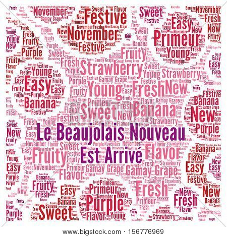 The new Beaujolais wine illustration word cloud