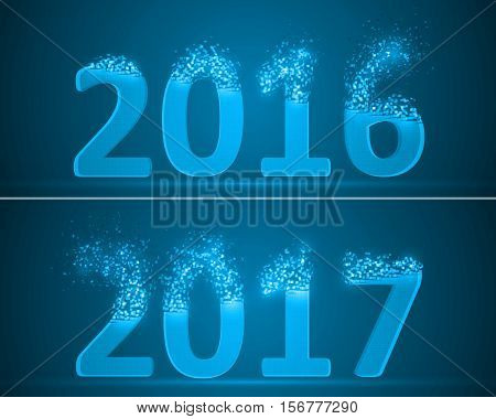 dissolving numbers of years 2016 and 2017. blue version.