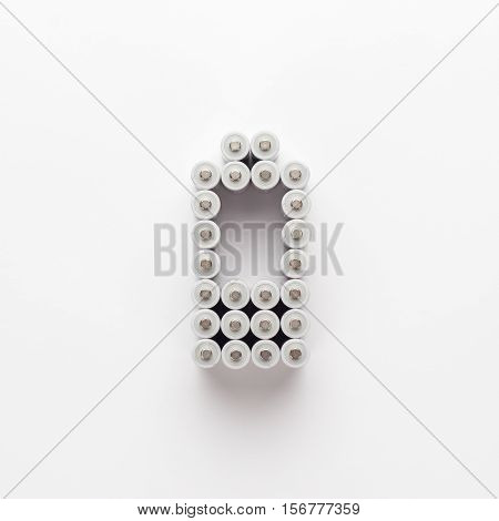 conceptual image of battery charge level pictogram made of rechargeable batteries over white background. not isolated