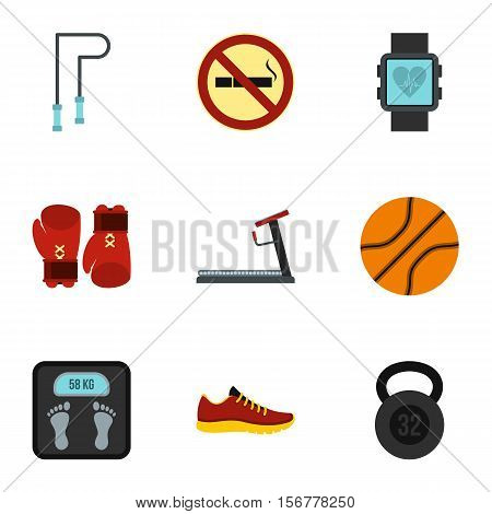 Workout icons set. Flat illustration of 9 workout vector icons for web