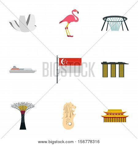 Holiday in Singapore icons set. Flat illustration of 9 holiday in Singapore vector icons for web
