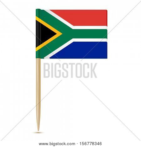South Africa flag toothpick on white background 10eps