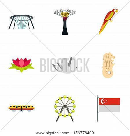Tourism in Singapore icons set. Flat illustration of 9 tourism in Singapore vector icons for web