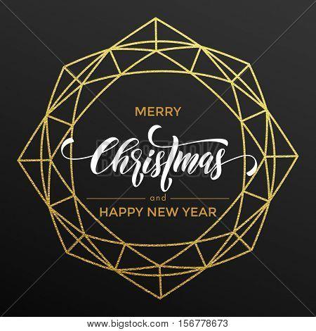 Merry Christmas gold glitter wreath, lettering trend modern design. Christmas greeting card, poster, banner. Vector golden glittering geometric gem ornament decoration black background