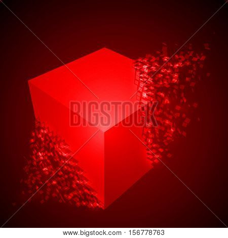 dissolving cube shape illustration. glowing red version