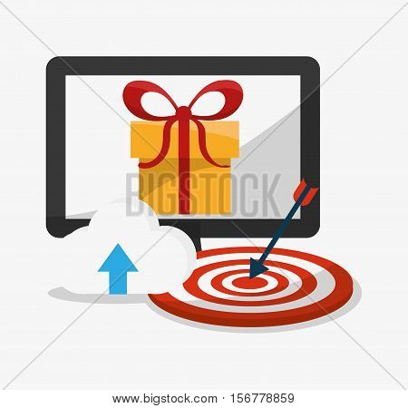 Computer target and gift icon. Digital marketing media ecommerce seo and business theme. Isolated design. Vector illustration