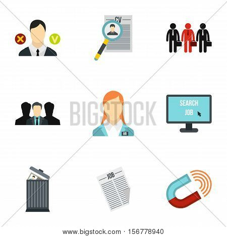 Employee icons set. Flat illustration of 9 employee vector icons for web