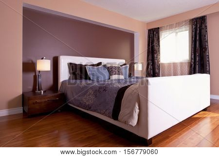 Modern contemporary apartment bedroom interior design after bamboo floors renovation
