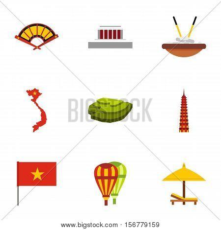 Vietnam icons set. Flat illustration of 9 Vietnam vector icons for web