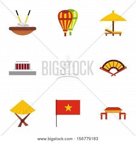 Holiday in Vietnam icons set. Flat illustration of 9 holiday in Vietnam vector icons for web