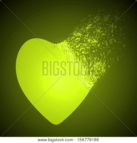 dissolving heart shape illustration. glowing yellow version