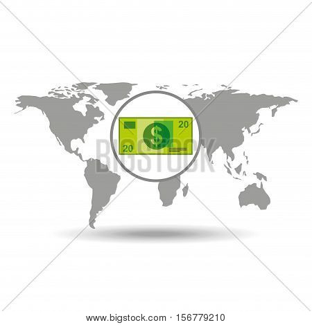 map world business money bill design vector illustration eps 10