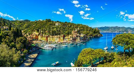 Portofino luxury landmark aerial panoramic view. Village and yacht in little bay harbor. Liguria Italy