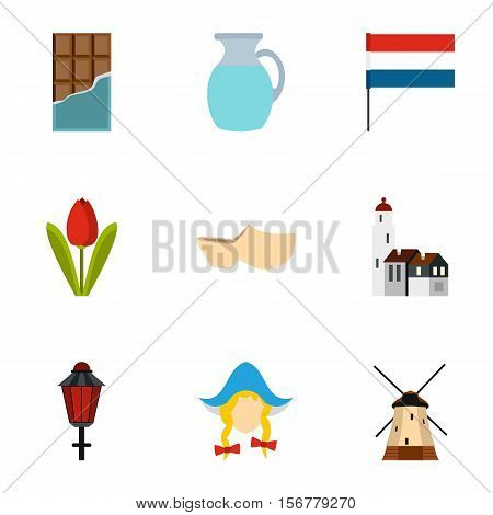 Country Holland icons set. Flat illustration of 9 country Holland vector icons for web