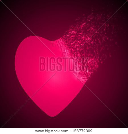 dissolving heart shape illustration. glowing pink version