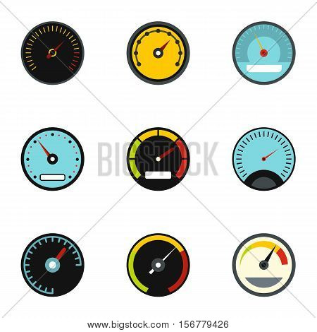Types of speedometers icons set. Flat illustration of 9 types of speedometers vector icons for web