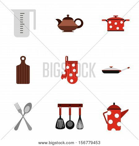 Kitchen utensils icons set. Flat illustration of 9 kitchen utensils vector icons for web