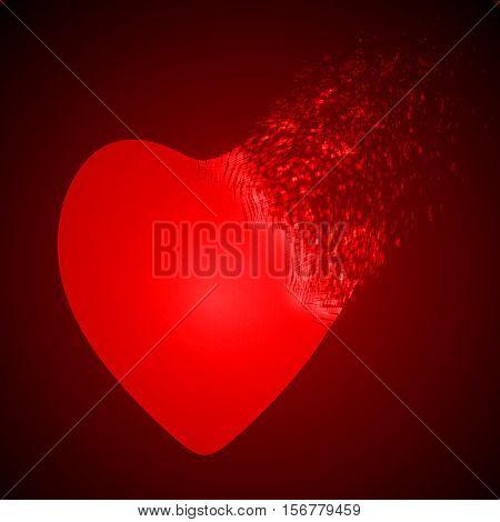dissolving heart shape illustration. glowing red version