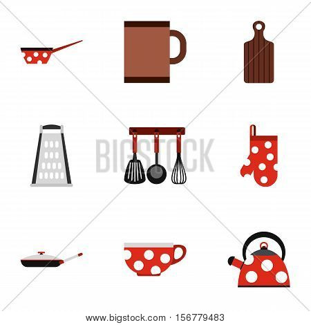 Dining items icons set. Flat illustration of 9 dining items vector icons for web