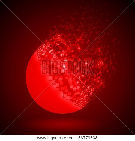dissolving sphere shape illustration. glowing red version