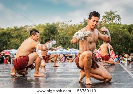 Bangkok, Thailand - Febuary 20: Unidentified Thai Boxers Perform A Thai Boxing Dance In The Celebrat