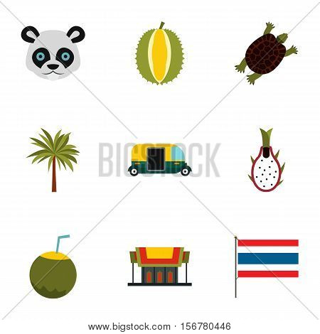 Country Thailand icons set. Flat illustration of 9 country Thailand vector icons for web