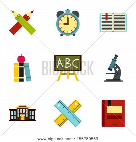 Schoolhouse icons set. Flat illustration of 9 schoolhouse vector icons for web